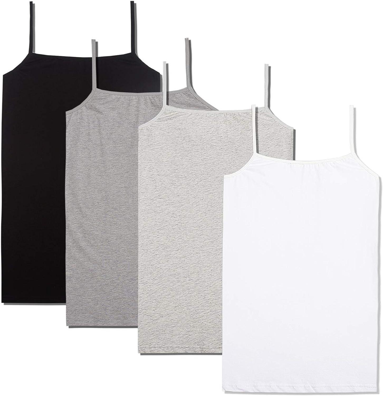 5d/ù daily underwear Big Girls 4-Pack Long Cami Cotton Tank Top