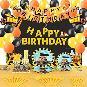 Construction Birthday Party Supplies Decorations Set- Serve 10 Guests -156 Pcs, Birthday Packs Includes Flatwares,Tablecloth, Cups, Backdrop, Banner, Balloons, Cakeforks, Napkins Gift for Girl's Boys Kids Birthday Party and Baby Shower Decor