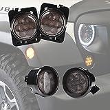 Xprite Smoke Lens Yellow LED Front Replacement Turn Signal Light & Fender Side Marker Light Assembly for 2007-2017 Jeep Wrangler JK JKU