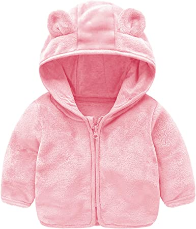 Feidoog Infant Baby Girls Boys Fleece Jacket Hooded Coat with Ears Long Sleeve Zipper Up Warm Outwear