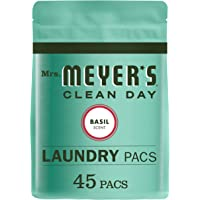 Mrs. Meyer's Clean Day Laundry Detergent Pacs, Biodegradable Formula, Ready to Use Pods, Basil Scent, 45 Count