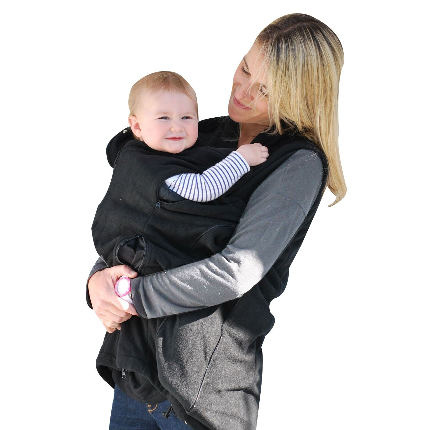 B&me Expandable Womens Vest Designed to Accommodate Baby Sling Or Baby Carrier for Women (with Black Sides) (Medium)