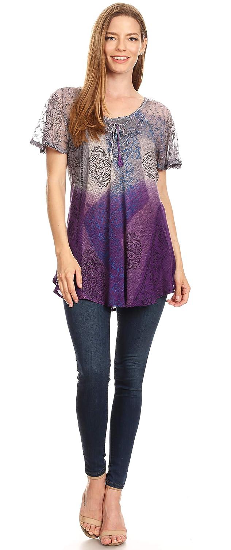 Sakkas Marzia kvinnor lös passform kort ärm ledig batik blus topp tunika 19208-lila