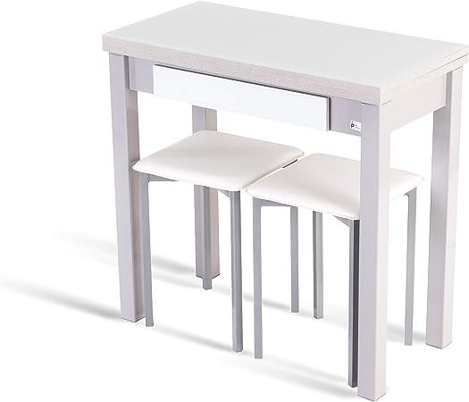 Portus Conjunto Romero - 1 Mesa Libro 80x40(80) (Cristal Blanco) + 2 taburetes (Blanco): Amazon.es: Hogar