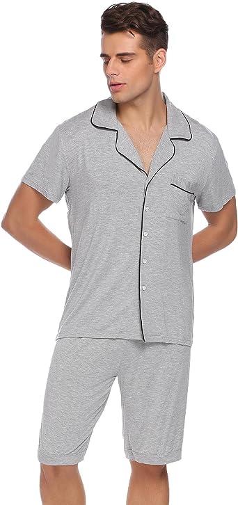 GLOBAL Mens Short Sleeve Pajama Sets /& Pants PJs Elastic Drawstring Waistband Sleepwear Lightweight Loungwear S-XXL