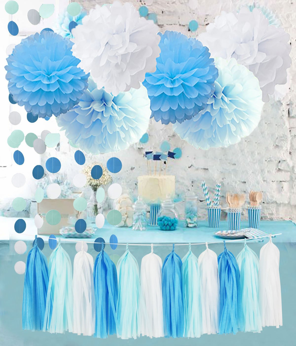 Furuix 20pcs Baby Shower Boy Decorations Boy Tassel Garland Paper Garland Blue Birthday Tassels Turquoise Baby Blue White Gender Reveal Tissue Paper Tassel Garland Tissue Paper Pom Pom Circle Garland for Rustic Wedding, Baby Shower/Nursery, Birthday Party,