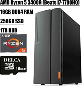 Lenovo IdeaCentre 510A Desktop 2020 Flagship I AMD Quad-Core Ryzen 5 3400G (> i7-7700HQ) I 16GB DDR4 256GB SSD + 1TB HDD I DVD HDMI USB 3.0 WiFi Wired Keyboard and Mouse + Delca 16GB Micro SD Card