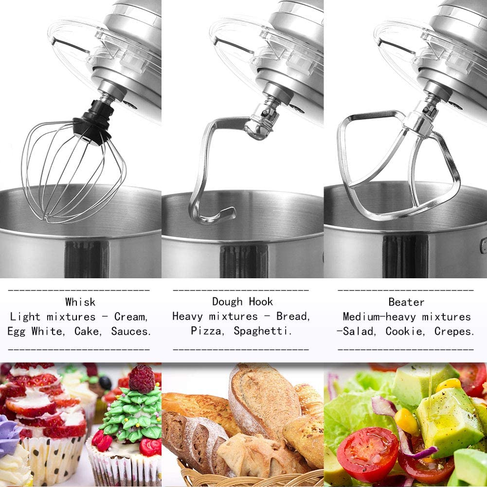 6 Stainless Steel Wires with Plastic Attach Part Aucma Replacement Whisk Acessoriess for Aucma Stand Mixer SM-1518N Dishwasher Safe,Black