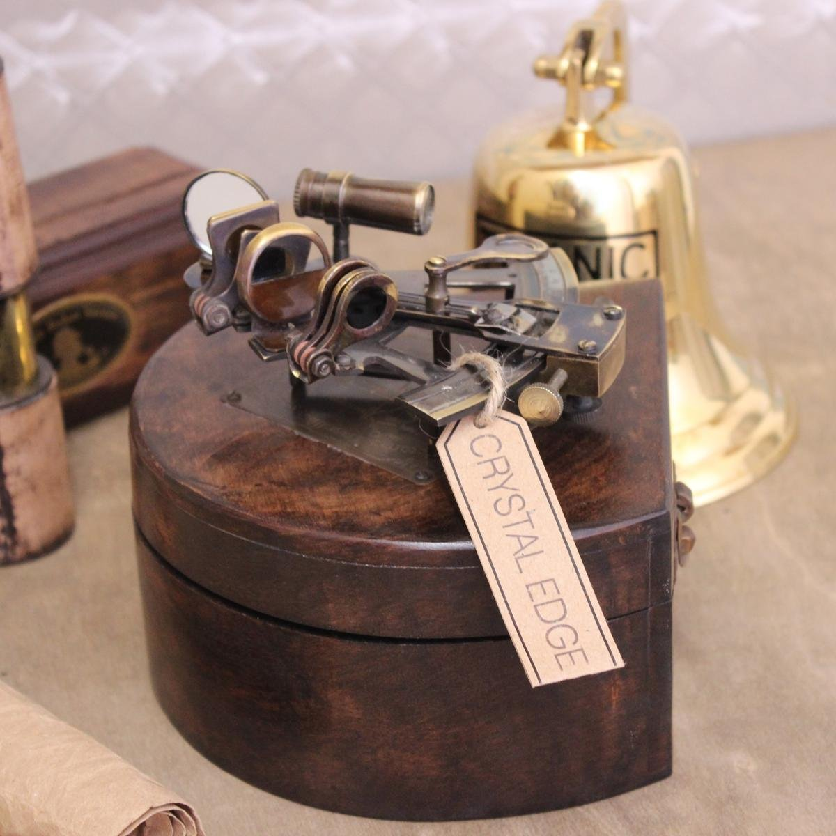 Antique Marco Polo Korcula Victoria Travelling Sextant In Wooden Box by CE Hardware & Tools by CE Hardware & Tools