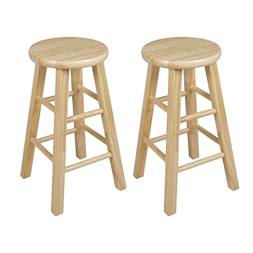 PJ Wood 24-Inch Round Seat Counter Height Stool – Natural, Set of 2