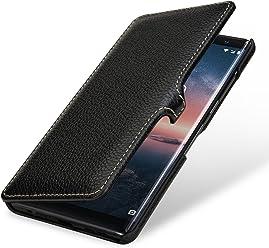 StilGut Book Type Housse en Cuir pour Nokia 8 Sirocco. Étui de Protection Nokia 8 Sirocco en Cuir véritable à Ouverture latérale, Noir avec Clip