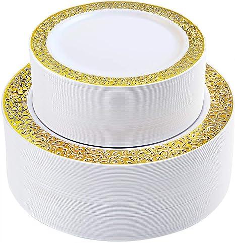 Amazon.com: 120 platos de plástico dorados, platos de fiesta ...
