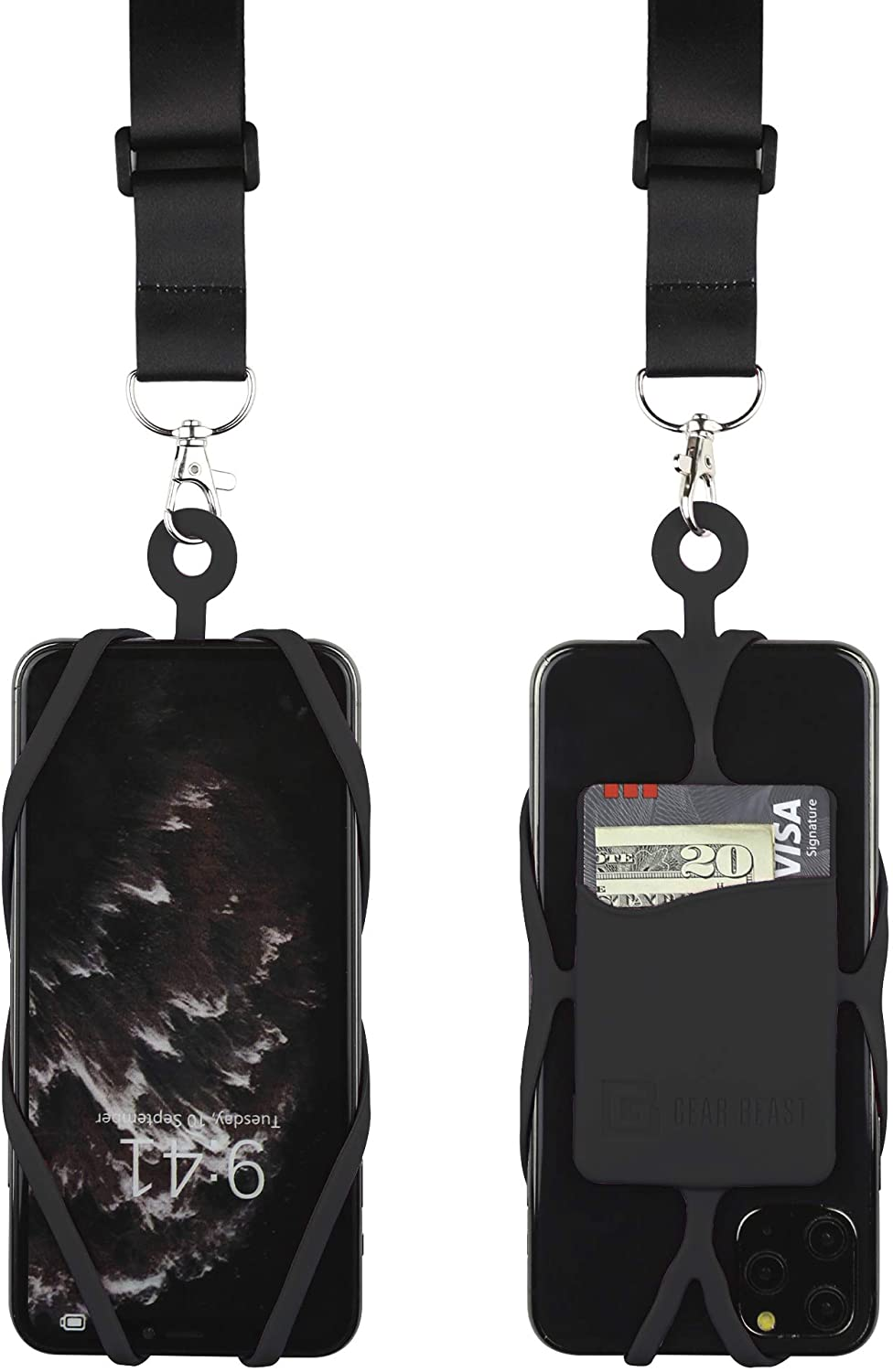 Gear Beast Cell Phone Lanyard with Adjustable Neck Strap Compatible with iPhone Galaxy & Most Smartphones, Silicone Phone Holder with Card Pocket and Adjustable Satin Polyester Lanyard