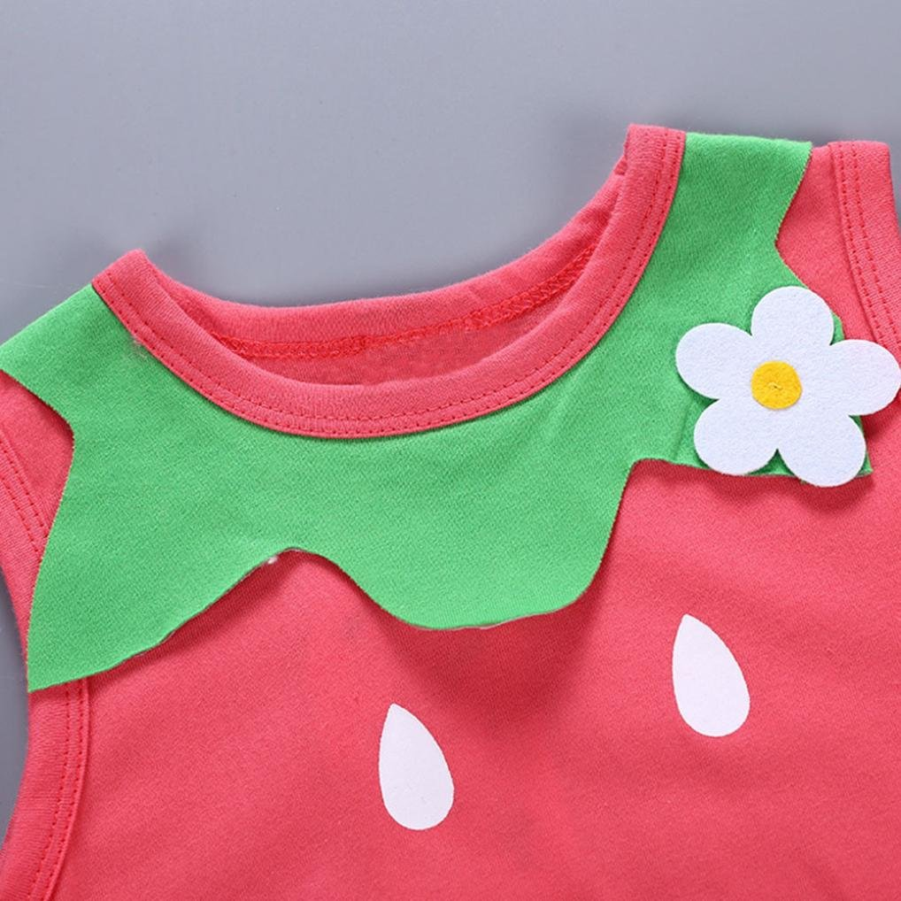 a56952c1b1ba Amazon.com  Minisoya Toddler Baby Girls Kids Summer Romper Sleeveless Cute  Strawberry Watermelon Costume Jumpsuit Playsuit Outfit  Clothing