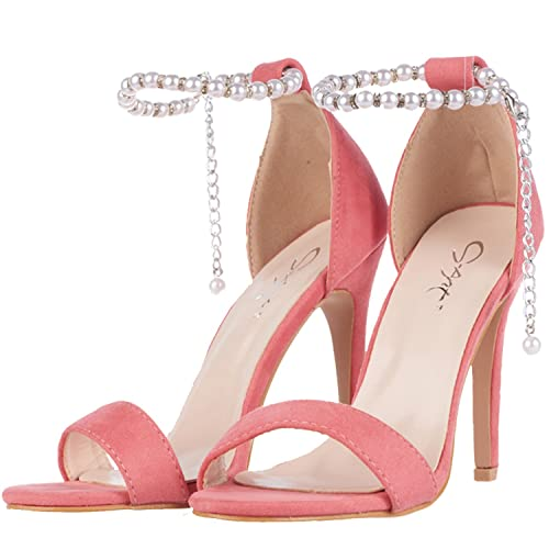 8e90a46e4f9 JSUN7 Women s High Heel Sandals Pink Pearls Decor Block Strap Sandal  Stiletto Heels Fashion Office Party