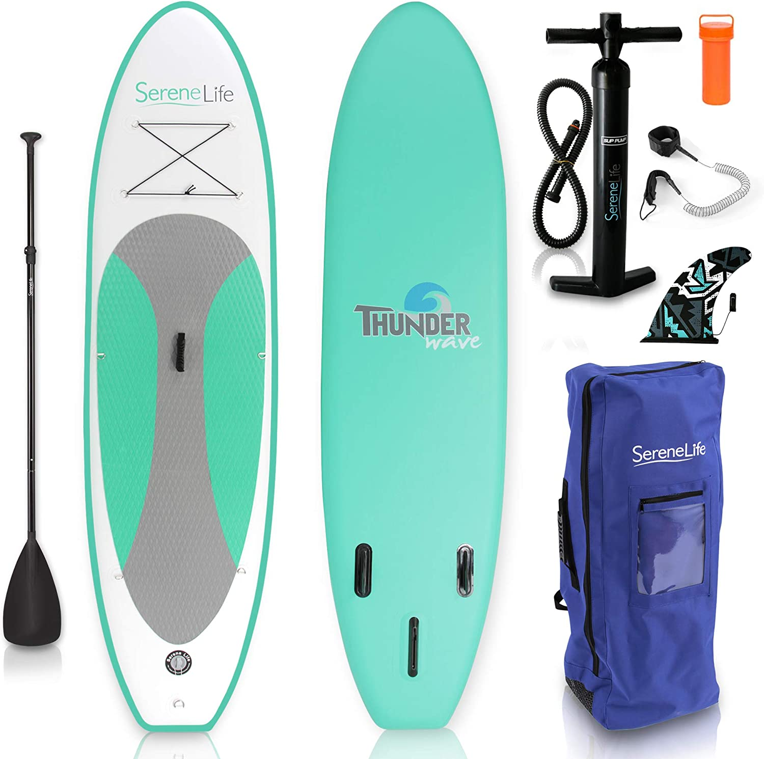SereneLife Inflatable Stand Up Paddle Board 6 Inches Thick with Premium SUP Accessories Carry Bag Wide Stance, Bottom Fin for Paddling, Surf Control, Non-Slip Deck Youth Adult Standing Boat