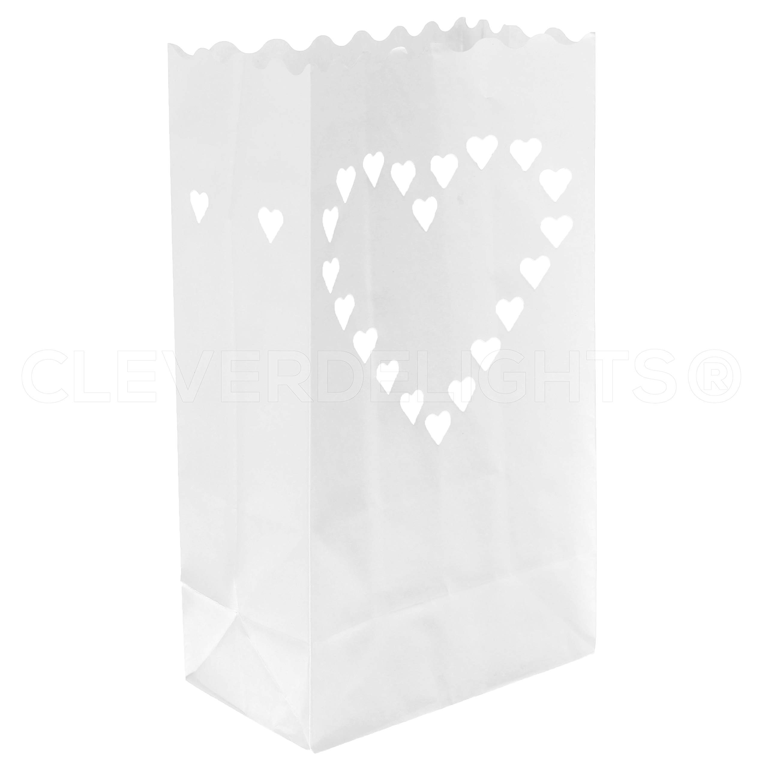 CleverDelights White Luminary Bags - 20 Count - Big Heart Design - Flame Resistant Paper - Wedding, Reception, Party and Event Decor - Luminaria Candle Bag by CleverDelights