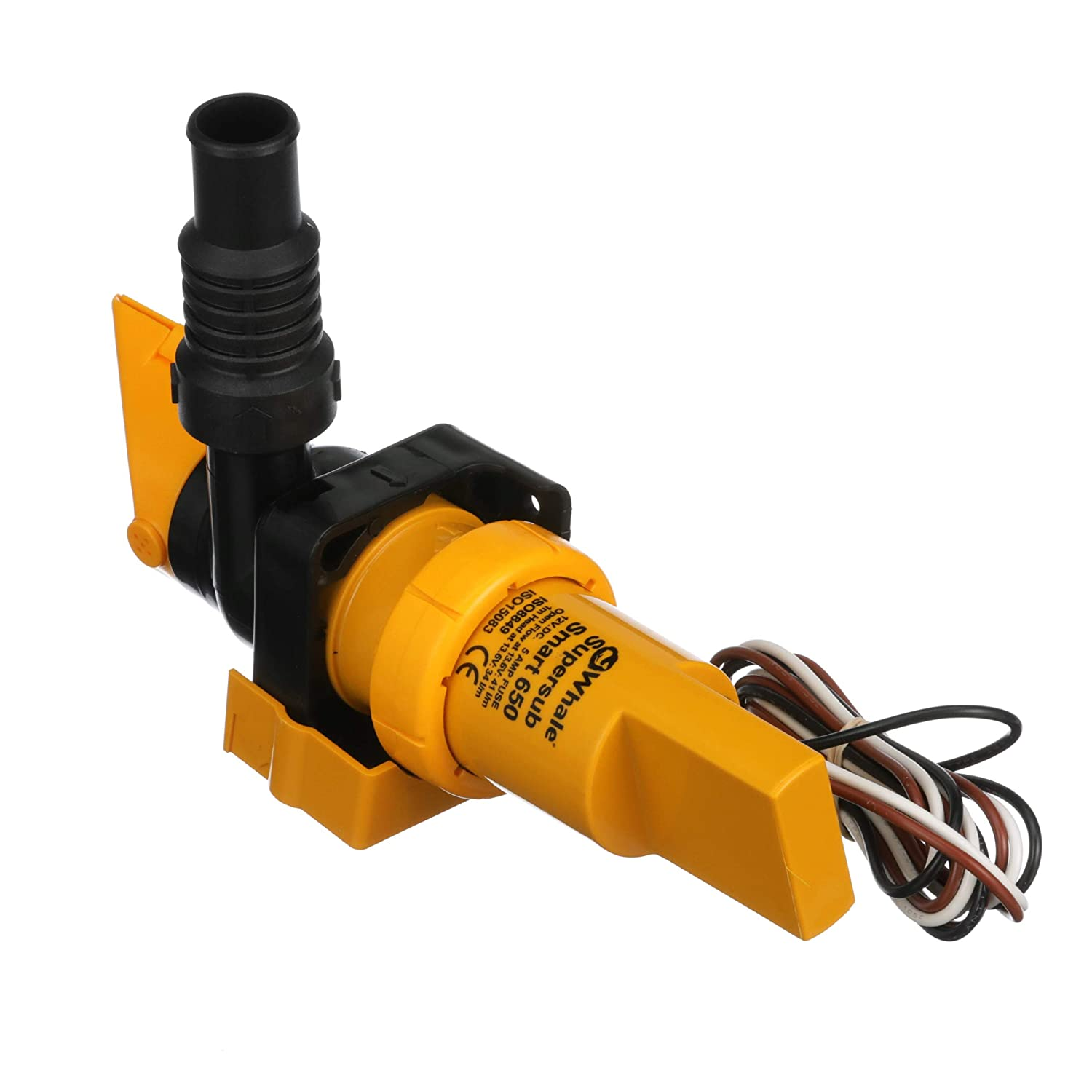 Whale SS5212 Supersub Smart 650 Electric Bilge Pump Open Flow Rate of 650 GPH @ 13.6V DC Suitable for Use with Fresh or Salt Water 12V DC 16 AWG Wire /¾-Inch and 1-Inch Hose Connections 3.4 Amps