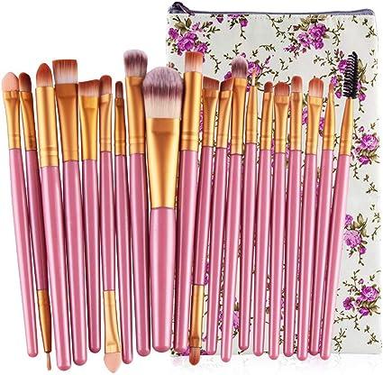20 unids/set Maquillaje cepillo conjunto de herramientas de maquillaje Kit de aseo de lana Maquillaje conjunto de cepillo brochas maquillaje brocha maquillaje: Amazon.es: Belleza