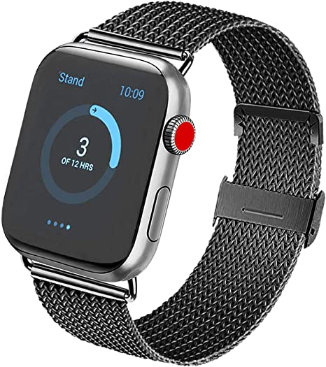 Image of Vanjua Metal Correa Compatible con Apple Watch Correa 44mm 42mm 38mm 40mm,Pulsera de Repuesto de Inoxidable Correa para iWatch Series 5 4 3 2 1,Mujer y Hombre (38mm/40mm, 02 Negro)