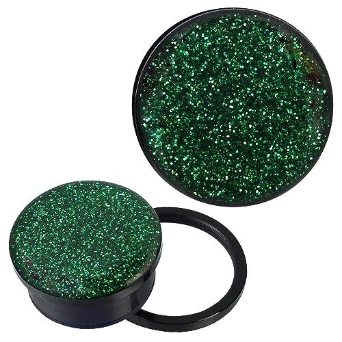 8 6 14 mm Neu! 12 10 Flesh Tunnel Plug Glitter Glitzer Acryl Ohr Piercing 5