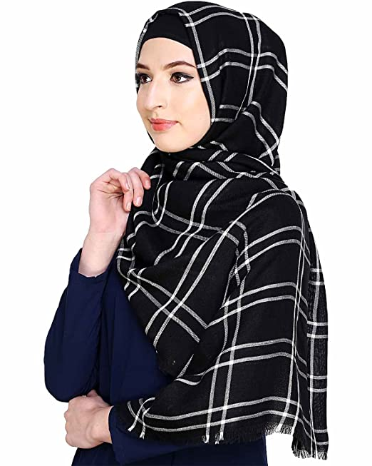 2ad83135f8 Urban Modesty Checkered Black White Hijab  Amazon.in  Clothing   Accessories