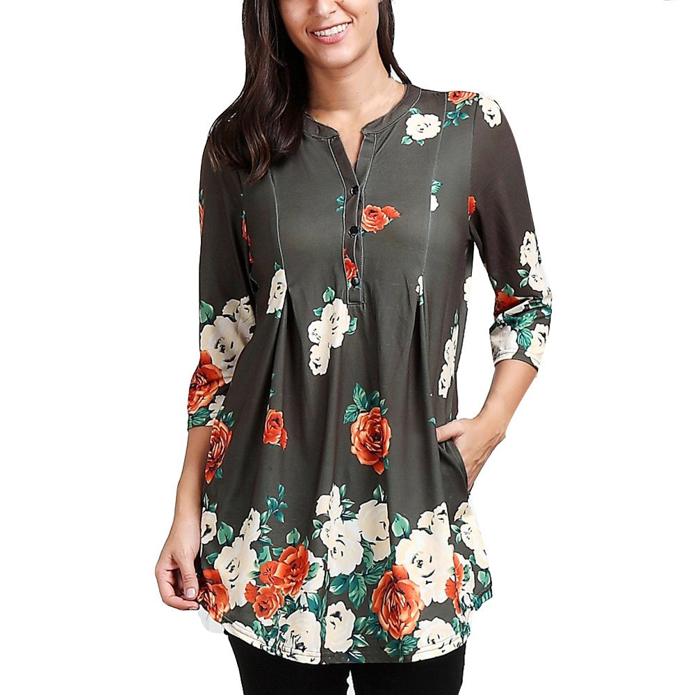 Blouse For Women-Clearance Sale,Farjing Three Quarter Sleeve Printing Casual Tops T-Shirt Loose Top Blouse(US:10/XL,Green)