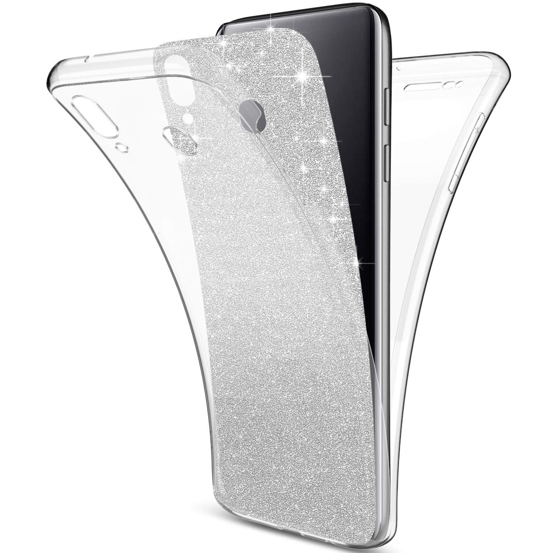 Uposao Compatible con Funda Samsung Galaxy A70 360 Grados Integral Ambas Carcasa,Funda 360 Full Body Completa CAS Bling Glitter Brillante 3 en 1 Funda Ultra Delgado Doble Silicona Gel Funda,Dorado