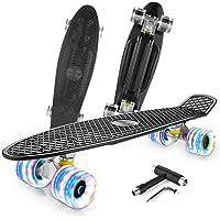 Caroma Skateboard Completo para Niños Niñas, 22 Pulgadas Retro Mini Cruiser Skateboard con Led Light Up Ruedas para…