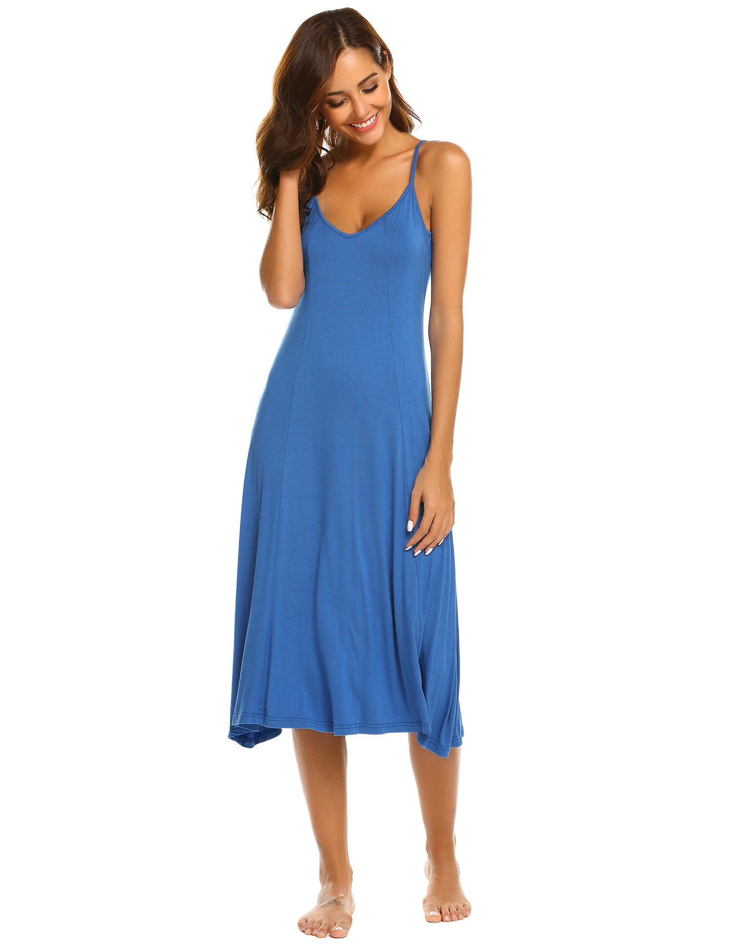 1332c14cdd4 Hotouch Womens V Neck Fitted A Line Midi Cami Spaghetti Strap Sexy Dress  Royal Blue XL