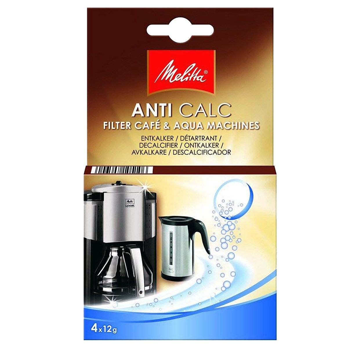 Melitta Genuine Filter Coffee Machine Kettle Anti Calc Limescale Descaler Tablets (4 x 12g) SPARES2GO