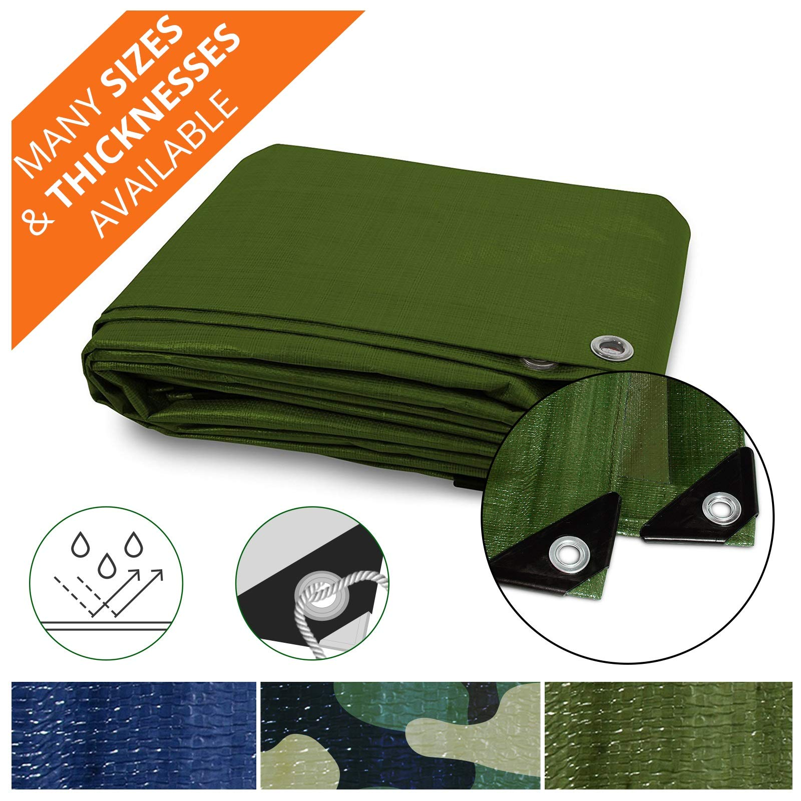 Heavy Duty Tarps | Waterproof Ground Tent Trailer Cover | Multilayered Tarpaulin in Many Sizes and Thicknesses | 15 Mil - Green - 10' x 12' by casa pura