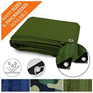 Heavy Duty Tarps | Waterproof Ground Tent Trailer Cover | Multilayered Tarpaulin in Many Sizes and Thicknesses | 15 Mil - Green - 20' x 50'