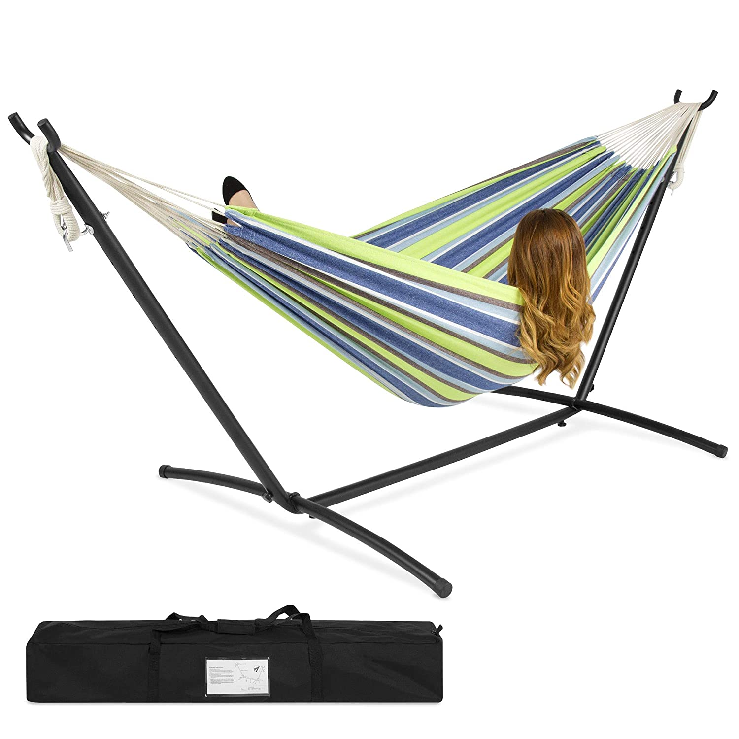 439eb814b37 Amazon.com : Best ChoiceProducts Double Hammock with Space Saving Steel  Stand Includes Portable Carrying Case : Garden & Outdoor
