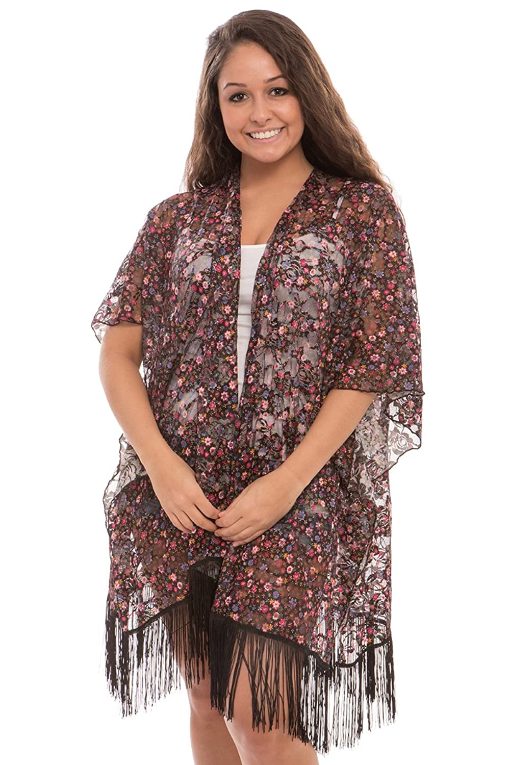 d4e1db369b551 ... Womens Fashion Lightweight Floral Open Front Kimono Cardigan Beach Cover -up. Wholesale Price:15.99 50% Cotton 50% Viscose Size : One size fits most