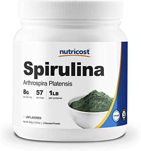 Nutricost Spirulina Powder 1LB 2 Bottles – Pure Spirulina Powder 8000mg Per Serving 57 Servings Each – High Quality Spirulina