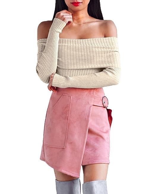 StyleDome Mujer Camiseta Otoño Mangas Largas Blusa Hombros Descubiertos Cuello Barco Oficina Tops Beige S