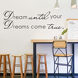 CUNYA Dream Until Your Dreams Come True Room Decor Stickers, Inspirational Decal Quotes Clouds Wall Art Decals Nursery Leaves, DIY Wallpaper Mural Decorations for Living Room, Bedroom Home Decor (12x40in)