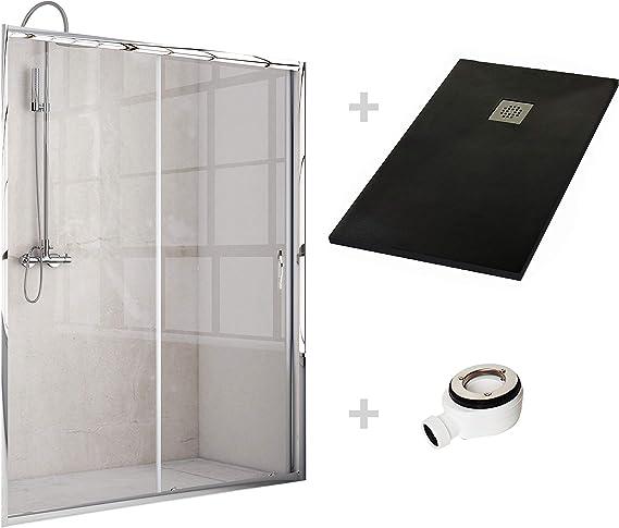 Crocket Kit Mampara de Ducha Frontal + Plato de Ducha de Resina Stone + Puerta Corredera Cristal Transparente - Incluye Sifón y Rejilla - Negro RAL 9005-90 x 140 (Adaptable 130 a 139 cm): Amazon.es: Hogar