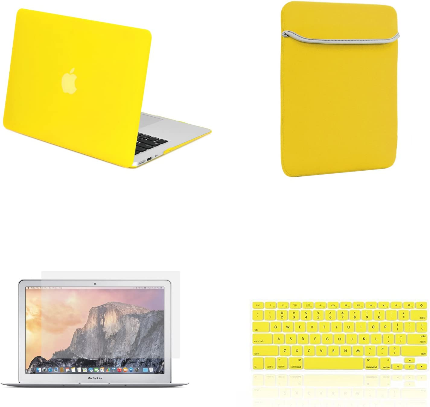 "TOP CASE - 4 in 1 Essential Bundle Rubberized Hard Case, Keyboard Cover, Screen Protector, Sleeve Bag Compatible MacBook Air 13"" Model: A1466 & A1369 (Older Version, Release 2010-2017) - Yellow"