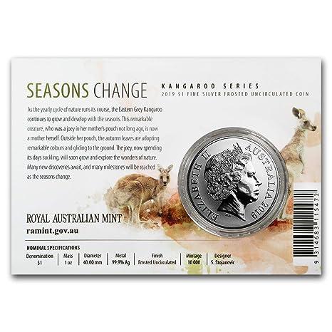2002 Royal Australian Mint Kangaroo 1 oz 999 Silver Coin w// Display Card