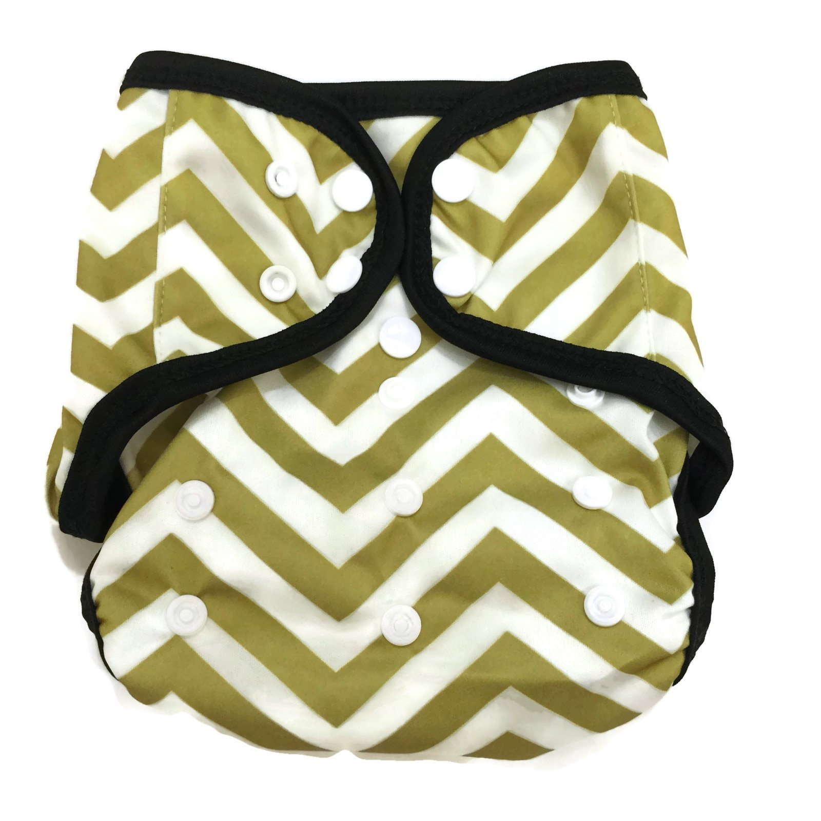 BB2 Baby One Size Printed Black Gussets Snaps Cloth Diaper Cover for  Prefolds