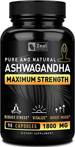 Pure Organic Ashwagandha Capsules 1800mg 90 Capsules 100 Pure Ashwagandha Organic Capsules from Ashwagandha Powder for Anxiety Support, Mood Boost and Support Stress Relief