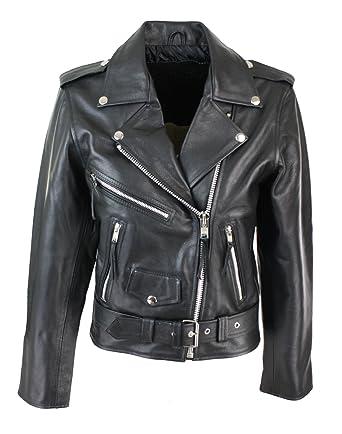 8cb1b6bb0f4d5 Blouson cuir perfecto femme style Brando biker motard couleur noire:  Amazon.fr: Vêtements et accessoires