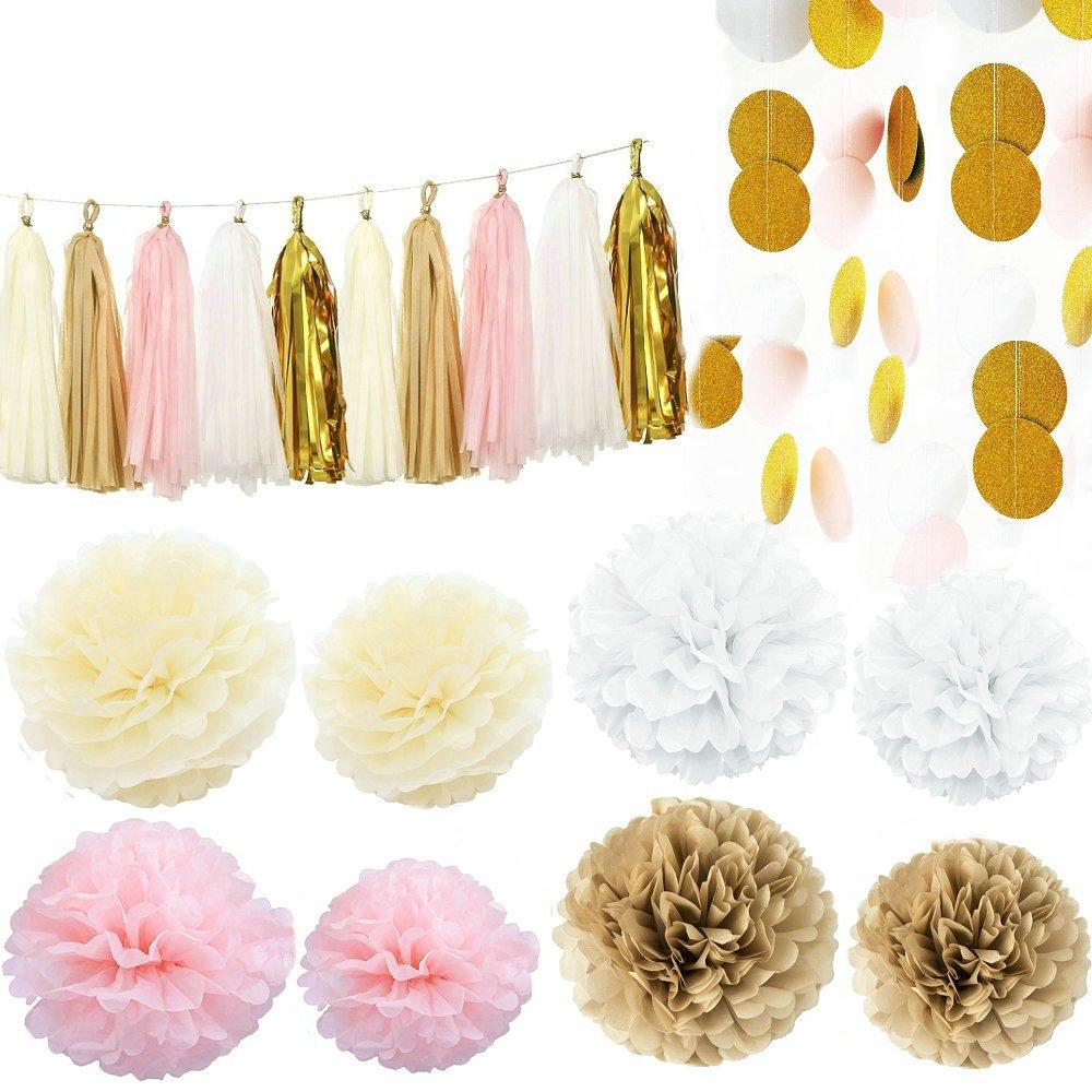 Baby shower wedding buy tissue paper poms tissue paper pom pom kit - Amazon Com Kubert Party 36 Pcs Pink White Ivory Gold Tissue Paper Pom Pom Gold Tissue Pom Pom Paper Tassel Polka Dot Paper Garland For Baby Shower