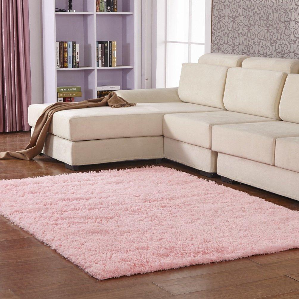 Rug WAN SAN QIAN- Children Bedroom Carpet Living Room Carpet Sofa Europe Princess Rectangle Blended Carpet Bedside (Color : Pink, Size : 120x160cm)