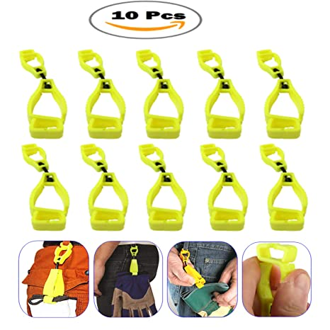 10Pcs Sino-Max Yellow Glove Grabber Clip Holder Guard Work Safety Clip  Glove Keeper, Neon POM,Reduce Hand Injury and Clip, Grab, Attach Gloves,
