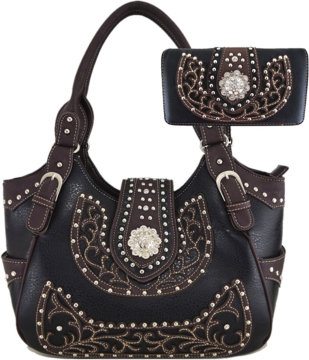 Cowgirl Retro Style Concealed Carry Shoulder Bag Hobo Totes Purse Women's Handbag Wallet Set