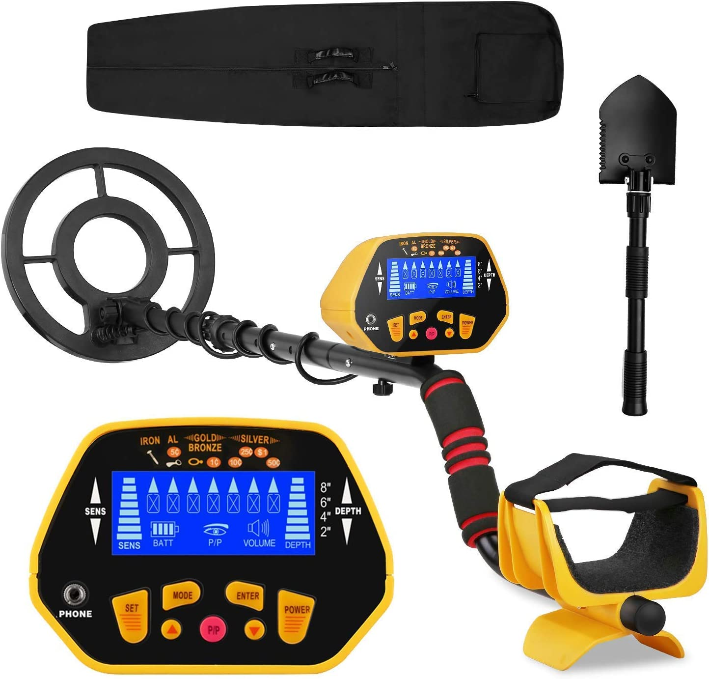 Canway Metal Detector High Accuracy Adjustable Waterproof Metal Finder, LCD Display with Light, Carrying Bag and Shovel Included, 7 Target Categories, Depth Indication, Audio Prompt, with P P Function