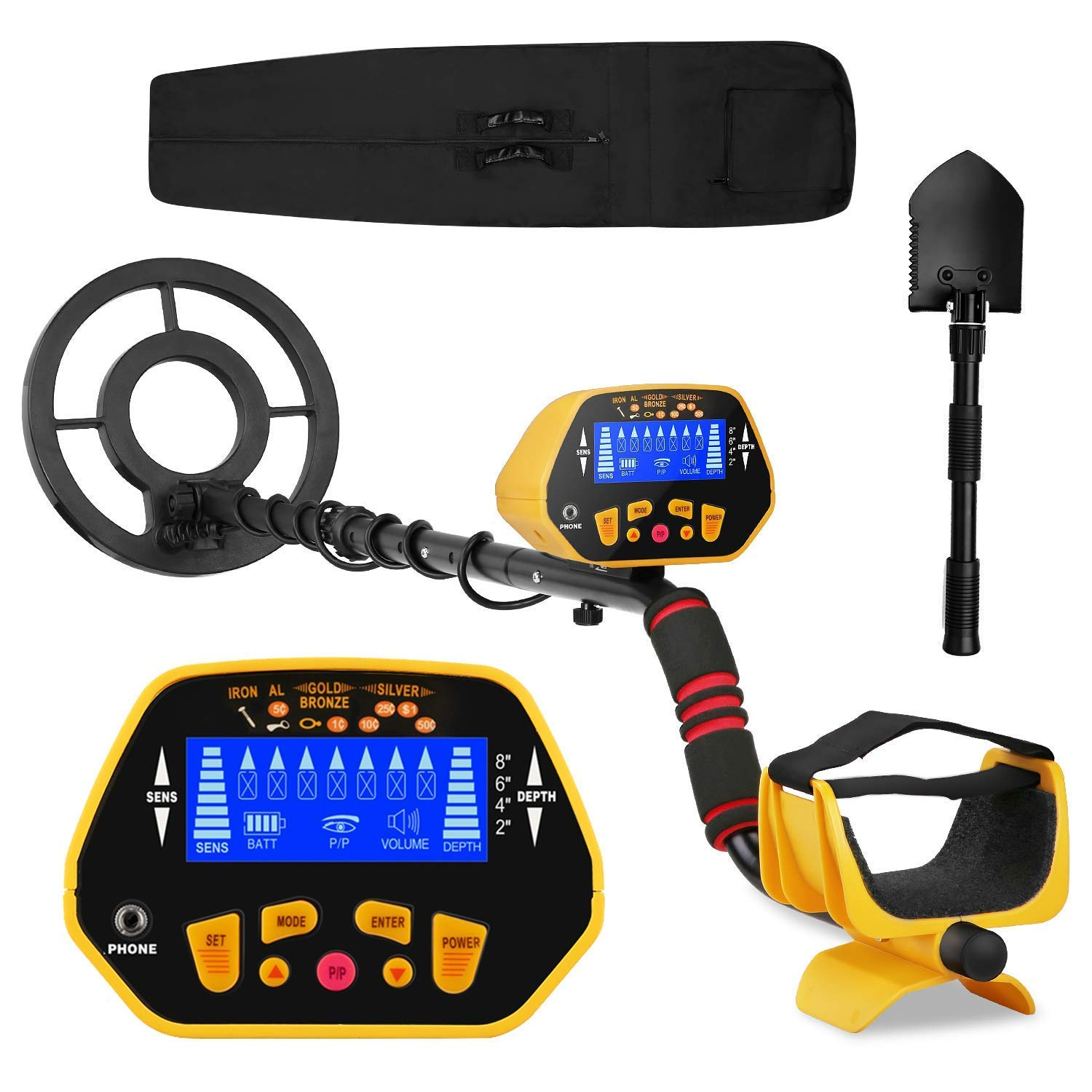 Canway Metal Detector High Accuracy Adjustable Waterproof Metal Finder, LCD Display with Light, Carrying Bag and Shovel Included, 7 Target Categories, Depth Indication, Audio Prompt, with P/P Function by CANWAY